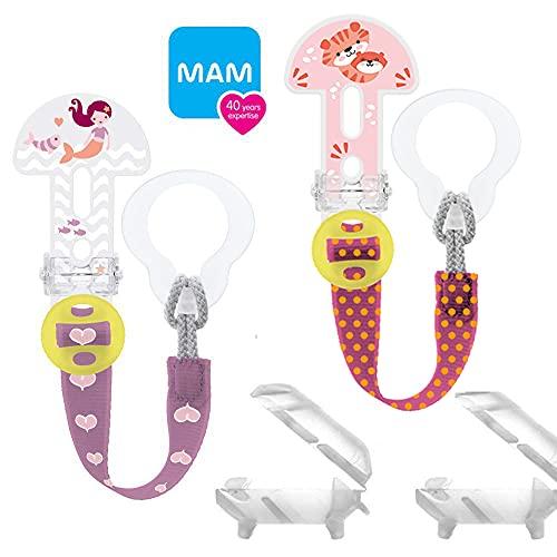 MAM Clip it ! Girl Fashion & Cover Schnullerband Schnullerkette mit SAUGERSCHUTZ // 2er Set // längenverstellbar, waschbar