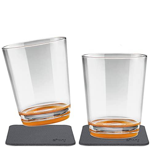 silwy Magnetic drinkware – Vasos de plástico irrompibles y Antideslizantes con imán Integrado y Posavasos metálicos – Camping, Barco, niños - Hup Orange