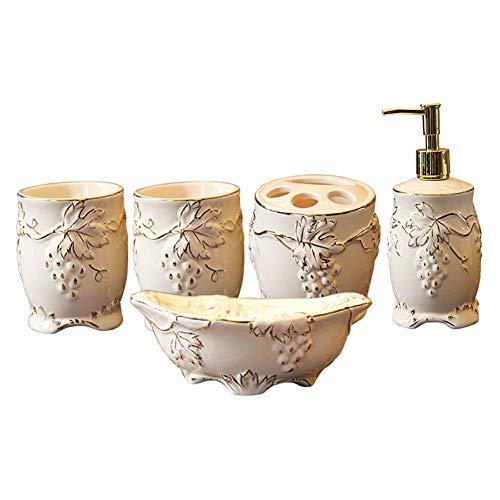 DBMGB Juego de Accesorios de baño, Incluye encimera Decorativa, Bomba dispensadora de jabón, Vaso, portacepillos de Dientes, Juego de tocador de tocador de cerámica, Caja de Regalo (cerámica)