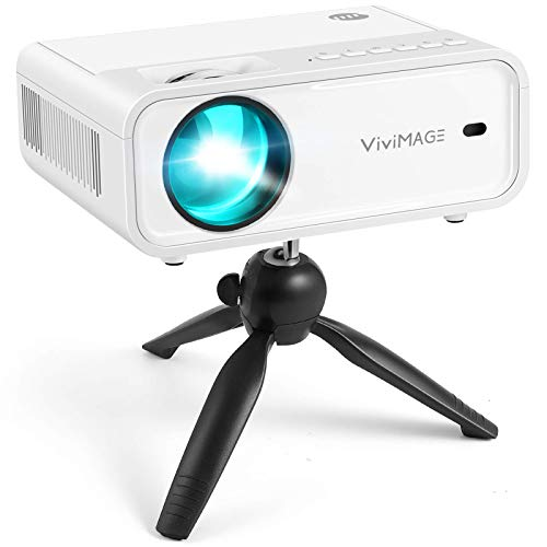 VIVIMAGE Explore 2 Mini WiFi Projector, 1080P Supported Projector, 40,000 Hours Lamp Life with Synchronize Smartphone Screen, Compatible with TV Stick, TV Box, PS5, HDMI, Include Tripod