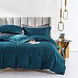 MILDLY Queen Duvet Cover Set Peacock Blue Comfortable Quilt Cover Set with Zipper Closure & Closure Corner (No Comforter)