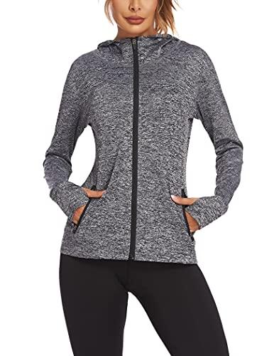 Onbay Damen Damen Laufjacke Sportjacke Langarm Trainingsjacke Sweatjacke mit Tasche Für Yoga Fitness, Dunkel Grau, S