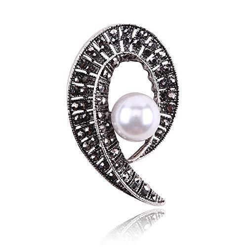 Autoaufkleber High-End-Retro-Pistole Black Alte Silber Perle Voll Diamant Kleine Blumenbrosche Dame Brust Blume Pin Kleidung Zubehör (Color : 1)