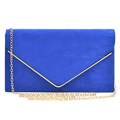 Dasein elegant evening bag / party clutch for women, with various available color options. High quality soft feeling velvet body framed by gold-tone hardware with removable gold chain strap. Soft fabric interior with top pouch pocket will fit your ph...