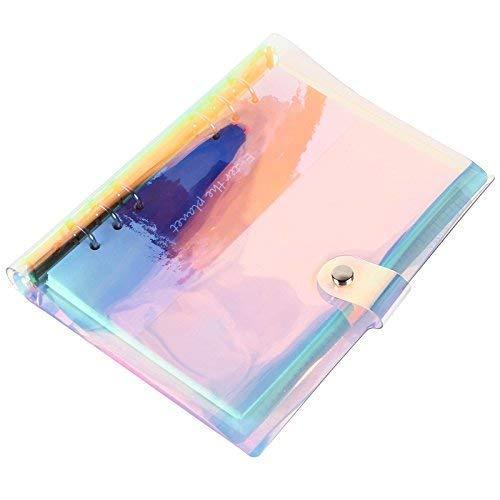DILISEN Copertina per rilegatore a 6 Anelli A5 Custodia per Notebook Riutilizzabile con Chiusura a Bottone Automatico per Pagine pianificate con Anelli, Colore Arcobaleno abbagliante (Carta