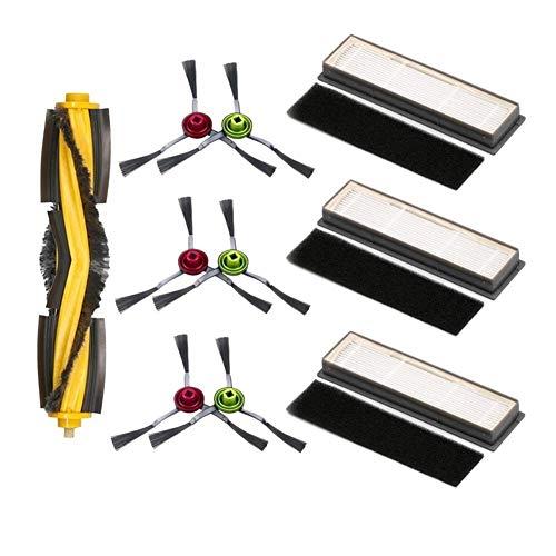 MeiZi Roller Cepillo Lateral Esponja del Filtro Kit Fit for Ecovacs Deebot Ozmo 950 920 Piezas de aspiradora, 1XRoller Cepillo, 3XFilters, 3XSponges,