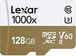 cheap Lexar Professional 1000x 128 GB microSDXC UHS-II card with adapter, reading speed up to 150 MB / s.