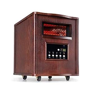 Klarstein Heatbox Calefactor infrarrojo - Aparato portátil, Calefacción con ruedecillas, 4 fuentes de calor, 1500 W, De 5 a 30 °C, AntiDryAir Heat, Mando a distancia, Nogal oscuro
