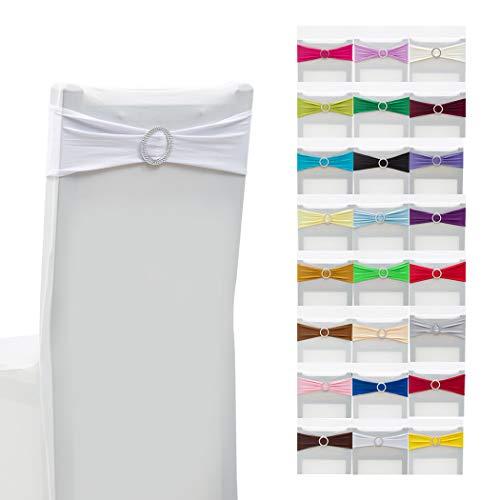 Elastische Stuhlhussen aus Elastan, Schärpen, Bänder für Hochzeit, Zuhause, Party, Dekoration, Weiß, 10 Stück