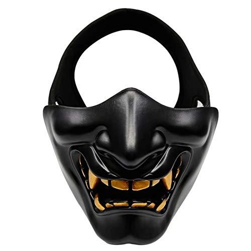 Máscara de Prajna japonesa, Airsoft media cara, BB Evil Demonio Monster Kabuki Samurai Hannya Oni Media Cara Cosplay, color negro, tamaño talla única