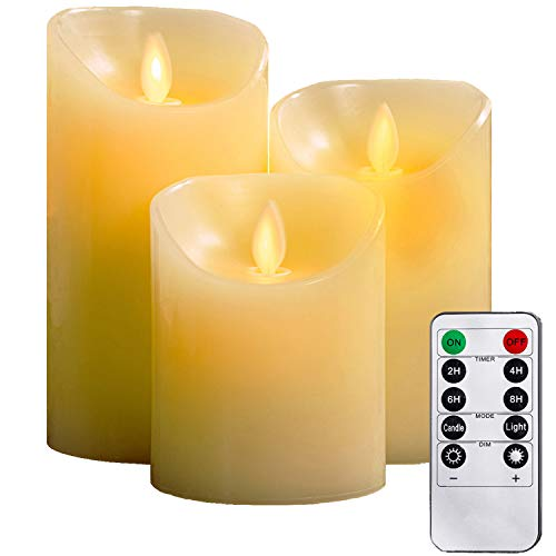 YIWER LED Candles,Flameless Candles 4' 5' 6' Real Wax Battery Candle...