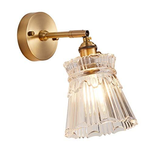 LZL Apliques de Pared Aplique metálico Retro Pared de la cabecera Minimalista baño baño lámpara Delantera lámpara Espejo del Pasillo lámpara de Pared (Color : Brass)