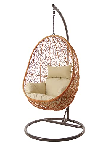 Kideo Swing Chair Hängesessel Hängestuhl Loungesessel Loungemöbel *Eyecatcher* (Sandstone/beige)