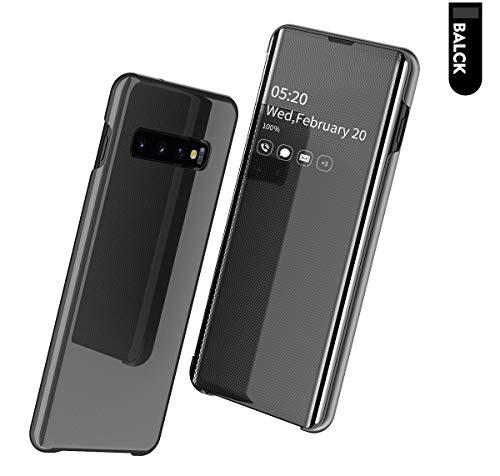 SevenPanda Huawei Mate 20 Pro Hülle Spiegel, Smart Mirror Ledertasche Hülle Automatischer Schlaf Flip Stand Case All-Inclusive Anti-Fingerprint Brieftasche für Hua wei Mate 20 Pro - Schwarz