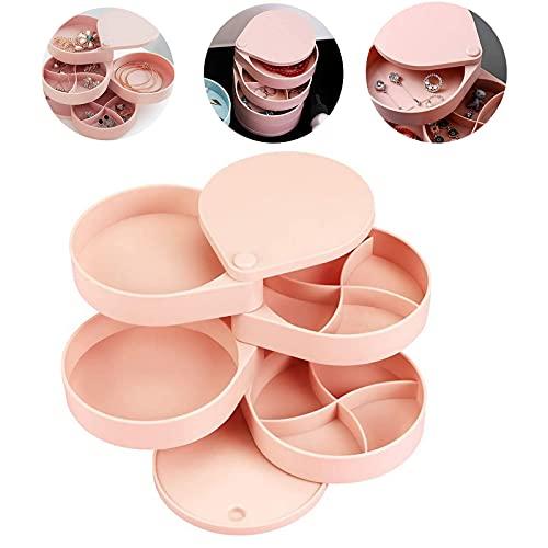 Caja Joyero Joyas Giratorio 360 Grados Caja Joyero giratorio con forma redonda Portátil Joyero Viaje Cajas para Joyas Jewelry Organizer para Mujer para Anillos Aretes (Rosa)