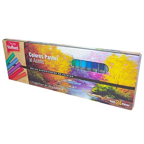 Azor 309.0024 Colores pastel al aceite, 24 piezas, Colores surtidos