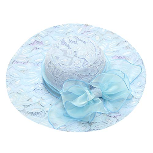 Jamicy  Women's Summer Lace Print Korean Seaside Sun Hat Foldable Mesh Cap Ms. Organza Church Wide-Side Tea Party Wedding Hat Outdoor Party Hat Beach Hat (Light Blue)