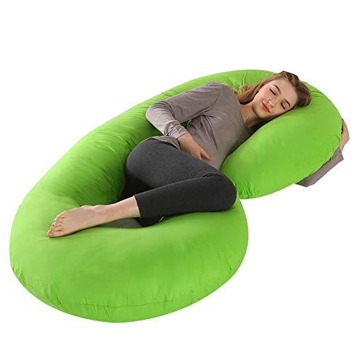 Almohada Embarazada Dormir en Forma de C,Multifuncional Embarazo Almohada de Cuerpo Completo Mejorar Sueño con Funda de Algodón Extraíble y Lavable,Verde