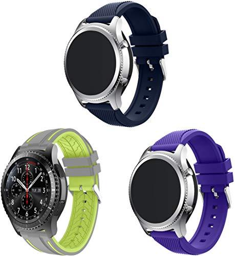 Simpleas Repuesto de Correa de Reloj de Silicona Compatible con TicWatch Pro/Pro 4G LTE / S2 / E2 / GTX, Caucho Fácil de Abrochar para Relojes y Smartwatch (22mm, 3PCS A)