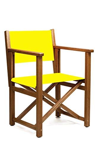 AUTENTICA Silla Menorquina - Silla Director - Silla Plegable en Madera para TERRAZA y Jardin en Color Brandy Y Tela ACRILICA Color Amarillo