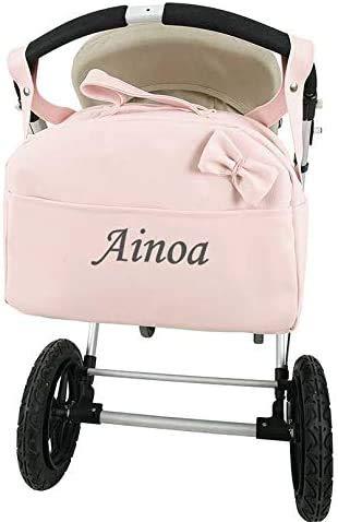 danielstore- Bolso Carro Bebe Personalizado Acolchado con Nombre Bordado. Color Rosa