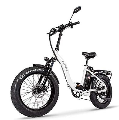 "SOHOO 48V500W13AH 20"" x4.0 Adult Folding Fat Tire E-Bike Mountain Electric Bicycle Beach Cruiser Snow Bike (White)"