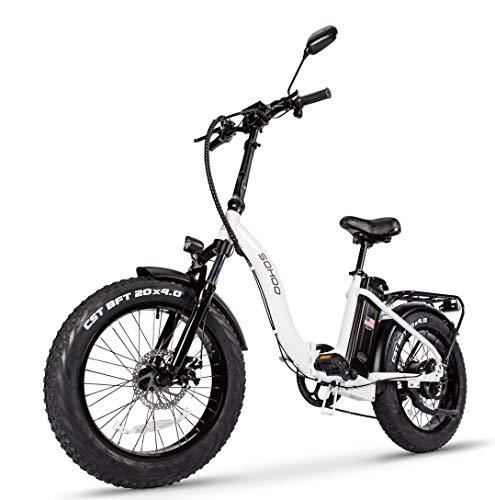 "SOHOO 48V500W13AH 20""x4.0 Adult Folding Fat Tire E-Bike Mountain Electric Bicycle Beach Cruiser Snow Bike (White)"