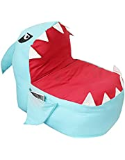Echolife Adorable Shark Bean Bag Couch Cover Stuffed Animal Storage Bag Chair for Kids Plush Toys Clothes Towels Storage Extra Large (Blue)