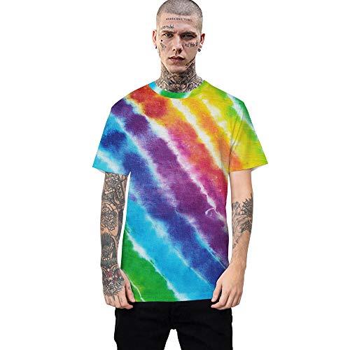 Herren Damen T-Shirt 3D Druck Kurze Ärmel Grafik T Shirts Männer Tie-Dye gestreifte Farbwechsel T-Shirt männlich 3DT Shirt Kurzarm Rundhals Digitaldruck lässig Kurzarm-Color_L