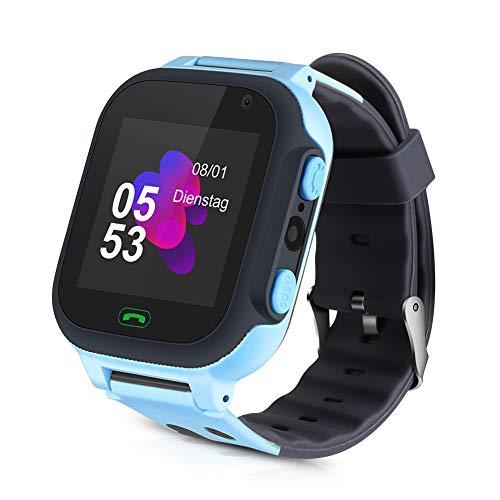 Openuye Niños Smartwatch, Smartwatch Phone con rastreador LBS, SOS, Pantalla táctil LED de 1,44 Pulgadas con cámara, Llamadas SIM, Despertador para niños y niñas, Compatible con iOS y Android(Azul)
