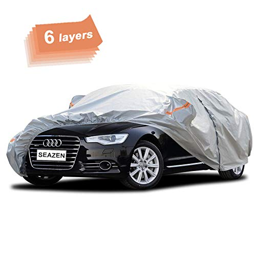 SEAZEN Car Cover 6 Layers, Waterproof Sedan Car Cover with Zipper Door, Snowproof/UV Protection/Windproof, Universal Car Covers Breathable Fabric with Cotton (185''-200'')