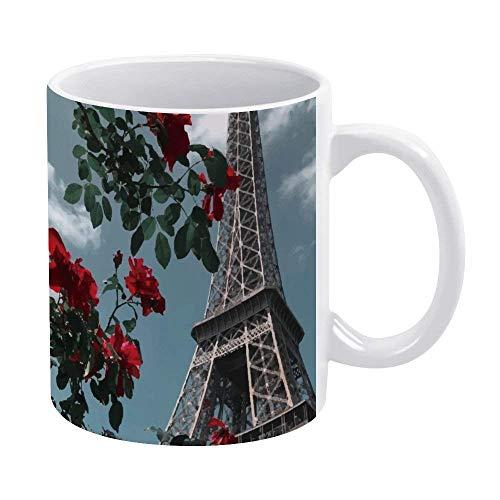 N\A Divertida Taza de café o té, Regalar o coleccionar, Tazas de café de 11 oz, Paris Eiffel y Flor.