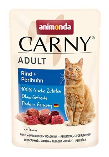 animonda Carny Adult Katzenfutter, Nassfutter für ausgewachsene Katzen, Frischebeutel, Rind + Perlhuhn, 12 x 85 g