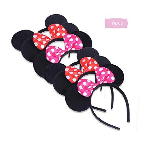 boogift 6 Pcs Orejas de Minnie Mickey Mouse Mickey Fiesta de Cumpleaños Decoracion Cumpleaños Minnie Diademas Minnie Mouse Suministros de la Fiesta de Mickey