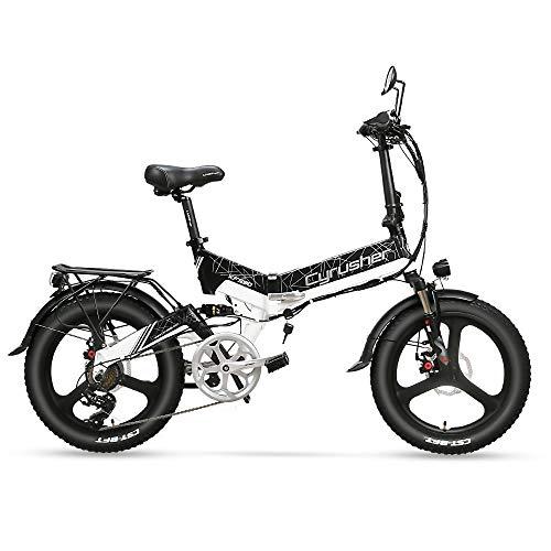 Extrbici XF590 Bicicleta eléctrica Plegable 500W 48V 10A Li-Battery Neumático de 20 Pulgadas con batería Interna Desmontable con luz Delantera y Trasera con Marco de Asiento