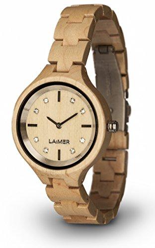 LAiMER 0026 - MARIA, Orologio analogico da polso al quarzo, con cristalli Swarovski e cinturino in legno d'Acero chiaro, donna