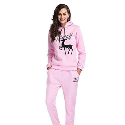 YiLianDa Femme Survêtement Hoodies Sweat-Shirts Pantalons Sports Set Rose L