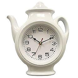 Teapot Wall Clock 11 x 10 Home Decor Kitchen Decor White