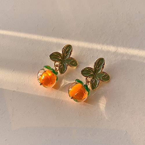 LIEQUAN Pendientes de Cristal de Color Naranja Femenino Los Pendientes Retro de Cristal de Caqui Persimmon Ruyi Son Hermosos(Clip de Oreja de Deseo de Caqui)
