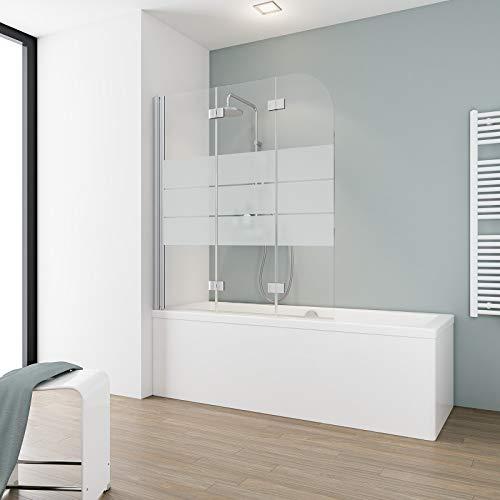Schulte Duschabtrennung, verschiedene Gläser, faltbar für Badewanne, einfacher Aufbau, 125 x 140 cm, 5 mm Sicherheitsglas Dekor Depoli light, alunatur, D3354 01 31
