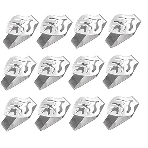 Mantel clip de acero inoxidable fija la cubierta de tabla de la abrazadera de la hoja en forma de mantel Titular antideslizante empuñadura de plata 12PCS, Mantel Clip