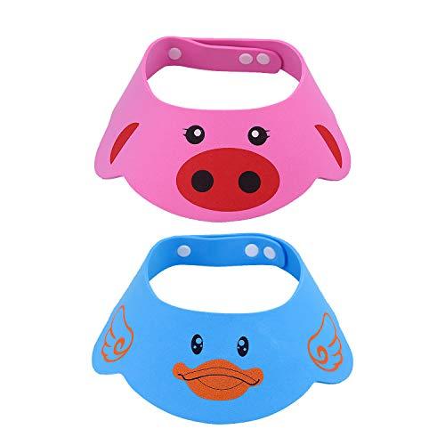 NATEE 2 Stück Baby Kinder Verstellbarer Shampoo Schutz, Baby Badekappe Bade Schutz Kopf Dusche Wasser Abdeckung, Haarwaschhilfe mit Augenschutz und Ohrenschutz