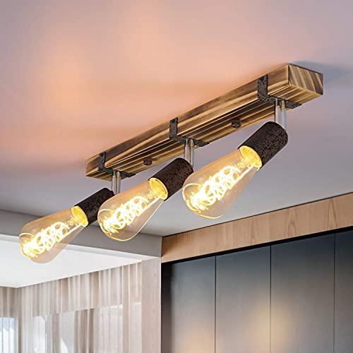 GBLY Vintage Deckenleuchte Holz Deckenspots Retro Deckenstrahler 55CM mit verstellbaren Strahlern, 3xE27, max.25 Watt, Schwenkbar Deckenlampe für Flur Küche Esszimmer Wohnzimmer Bar, Ohne Leuchtmittel