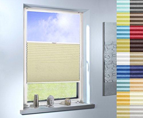 Plissee nach Maß, hochqualitative Wertarbeit, Design: Crush, für Fenster und Türen, alle Größen, Maßanfertigung (Farbe: Gelb, Stoffmuster)