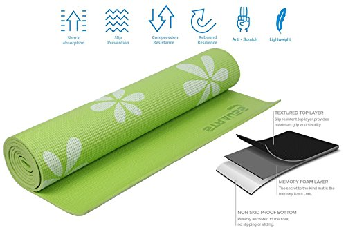 Strauss Yoga Mat 6MM (Floral Green)
