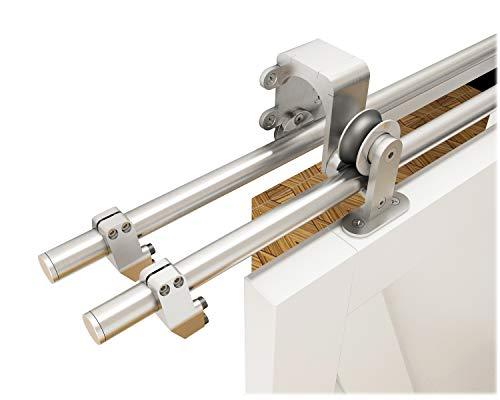 DIYHD 8ft Brushed Stainless Steel Sliding Hardware Top Mount Barn Door Low Ceiling, Bypass kit