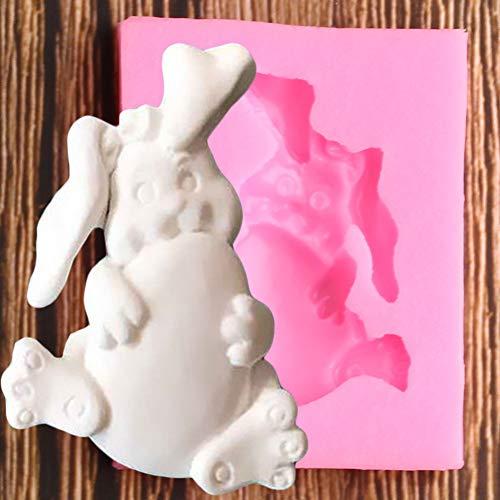 UNIYA Molde de Silicona de Conejo 3D, Arcilla polimérica, Fondant,moldes deChocolate y Caramelo,Herramientas de decoración de Pasteles DIY