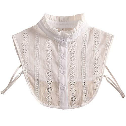 Xmiral Camicetta Mezze Camicie Colletto Donna Moda Colletto Finto in Pizzo Colletto Staccabile ( Taglia Unica,2bianca )