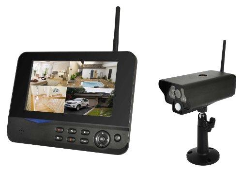 COMAG Digitales Kamera Funk-Überwachungs-Set (inkl. 7 Zoll TFT Monitor, kabellos, Nachtsicht (Infrarotkamera), erweiterbar bis zu 4 Kameras, bis zu 300 m, Aufnahmefunktion, SD-Kartenslot bis 32GB, USB 2.0 für externe Festplatte bis 1TB)