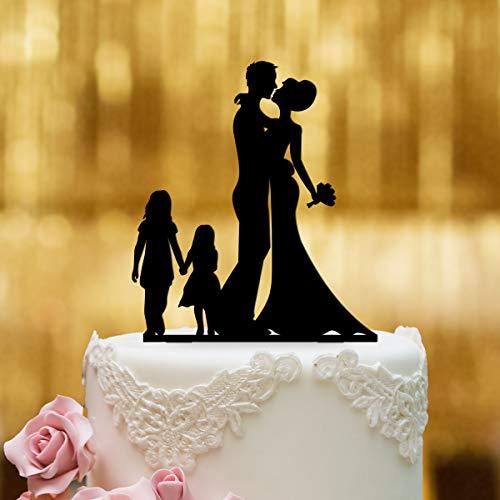 Cake Topper Brautpaar mit Kindern Mädchen - für die Hochzeitstorte - Acrylglas Schwarz - XL - Tortenaufsatz, Kuchen, Deko, Tortenstecker, Tortenfigur, Hochzeit, Kuchanaufsatz, Kuchendeko, Mr Mrs